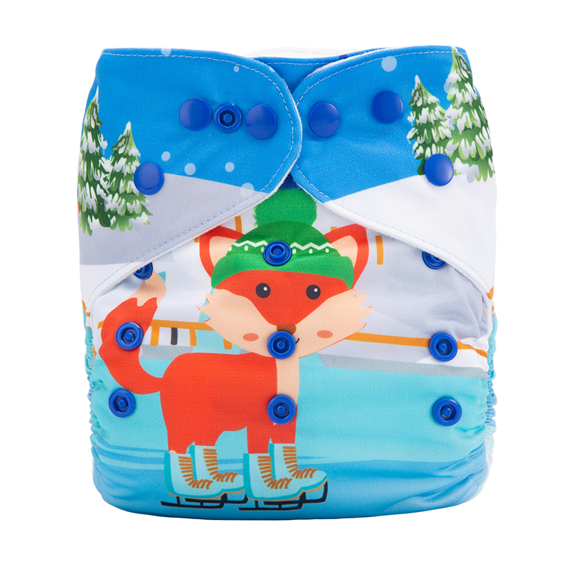 All In One Diaper Organic Cotton Baby Diaper Little Fox In The Village Daily Diaper DYX12
