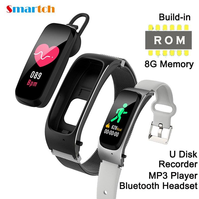 2 в 1 Смарт-браслет с Bluetooth-наушниками 8G память MP3-плеер, диктофон, U-диск, пульсометр, многофункциональный смарт-браслет для фитнеса