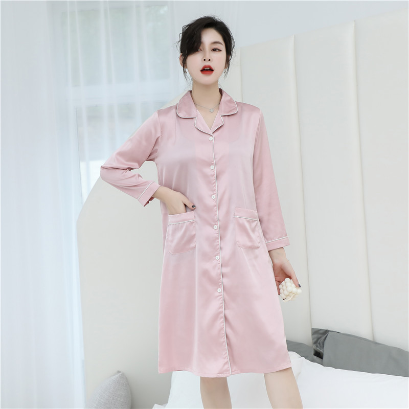 CAIYIER 2020 Silk Nightgown Sexy Lace Sleepwear Long Sleeve Turn-down Collar Night Dress Lingerie Bathrobe Gown Large Size M-3XL 12