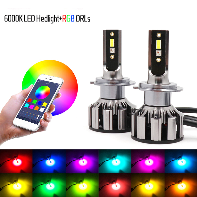 NEW H7 Led <font><b>RGB</b></font> Headlight APP Bluetooth Control Multi Colors LED Bulbs H1 <font><b>H4</b></font> H8 H9 H11 9005 9006 image