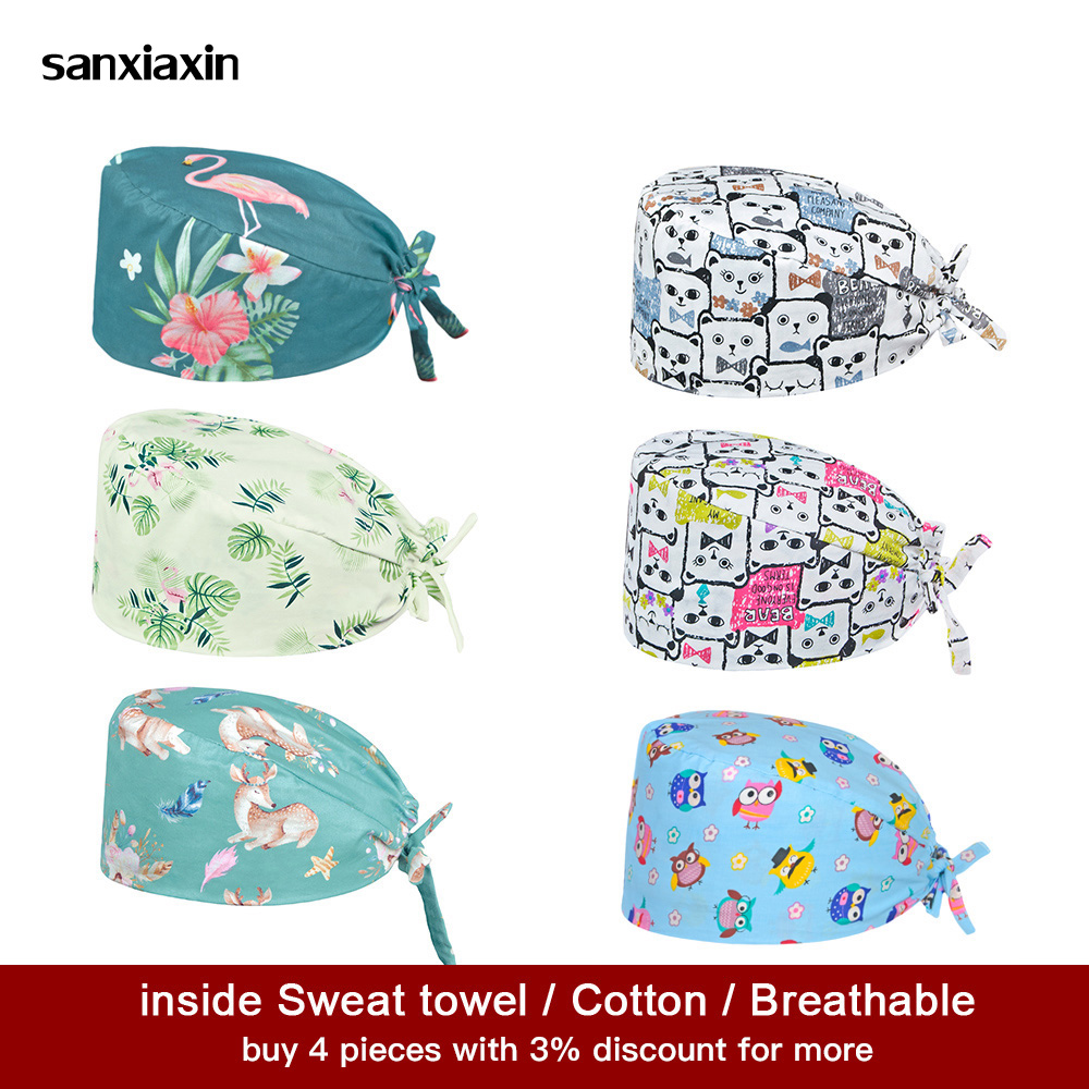 Sanxiaxin New Cotton Operating Room Hat Printing Medical Surgical Hat Sweat-absorbent Pet Hospital Doctor Work Hats Nursing Caps