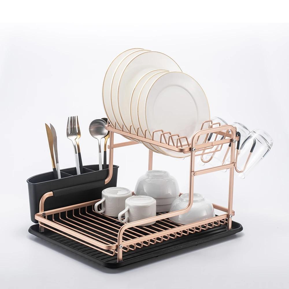 2 tier champagne gold stainless aluminium dish drying rack kitchen organizer drainer plate holder cutlery storage shelf sink