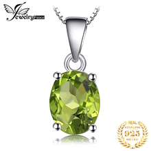 Genuine 2.2ct Natural Green Peridot Pure Solid 925 Sterling Silver Pendants For Women Love's Gift Oval Cut Trendy Fine Jewelry 925 pure silver christmas bells silver pendants