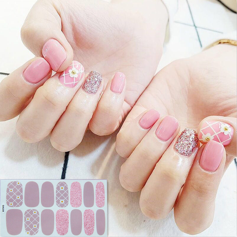 14tips/sheet Full Cover Wraps Nail Polish Stickers Strips Plain Nail Art Decorations Heart Designs Glitter Powder Manicure Tips