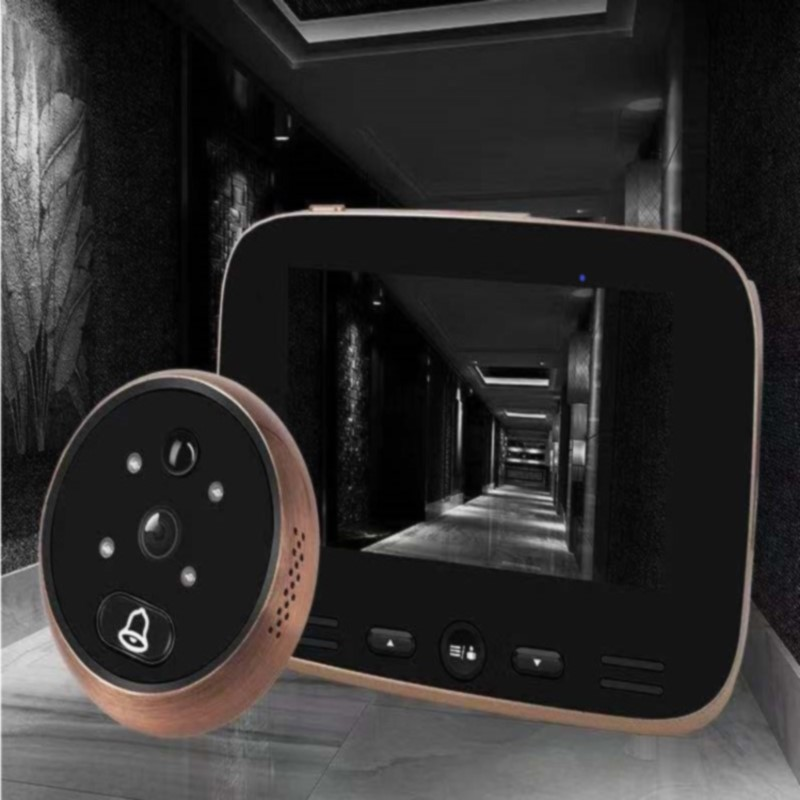 Video Doorbell Camera 4.3 Inch Digital Display Door Bell Peephole Viewer Hd Camera 3Mp With Ir Motion Sensor
