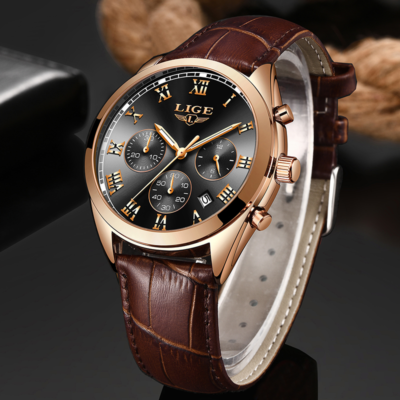 2020 LIGE Gold Watch Top Brand Man Watches With Chronograph Sports Waterproof Clock Man Watches Military Analog Quartz Watch Men
