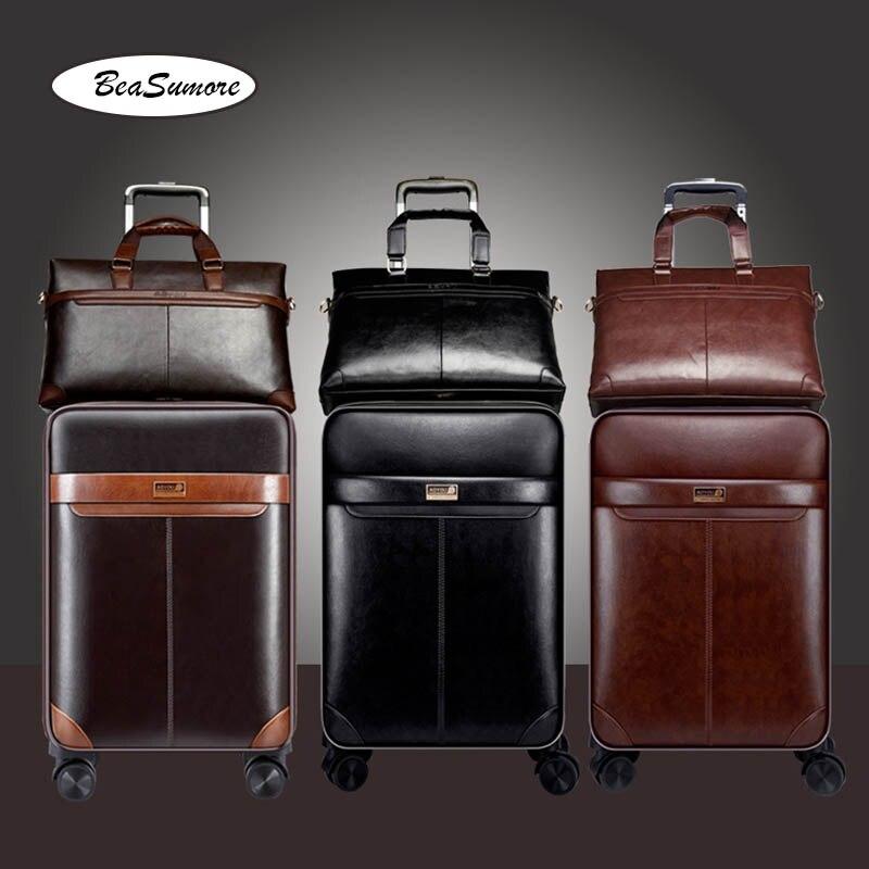 BeaSumore גברים עסקי עור מפוצל מטען מתגלגל סט ספינר 24 אינץ רטרו גלגל מזוודות 20 אינץ בקתת סיסמא עגלה