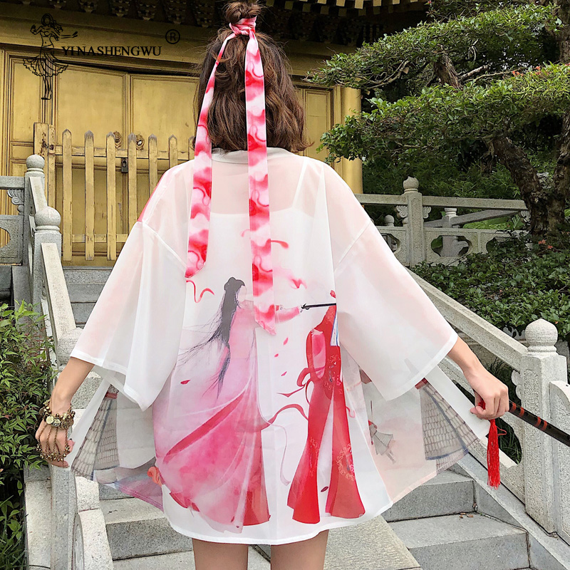 Kimono Women Japanese Harajuku Japanese Shirts Embroided Fox Blouses Loose Casual Tops Blouses Kimono Cosplay Kimono With Belt