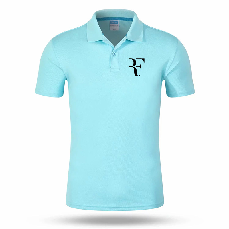 Roger Federe LOGO Print POLO Summer Casual Quick Dry Cotton Short Sleeve Slim Breathable Sports Short Sleeve Top #54