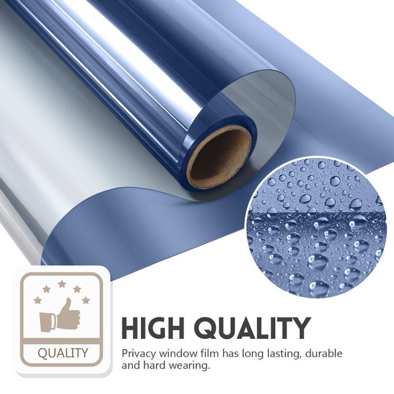 40/50/60/cm Window Film Privacy Decorative Film For Home Office Heat Block UV Protect Blue Silver Window Glass Sticker