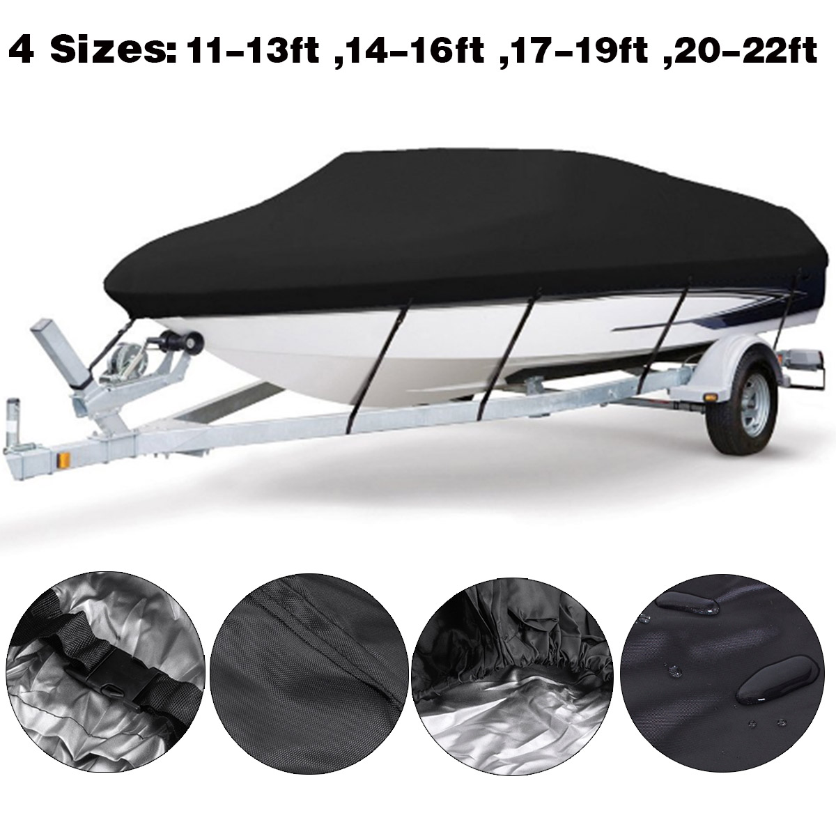 Black Marine Grade Boat Cover Sunproof Anti UV