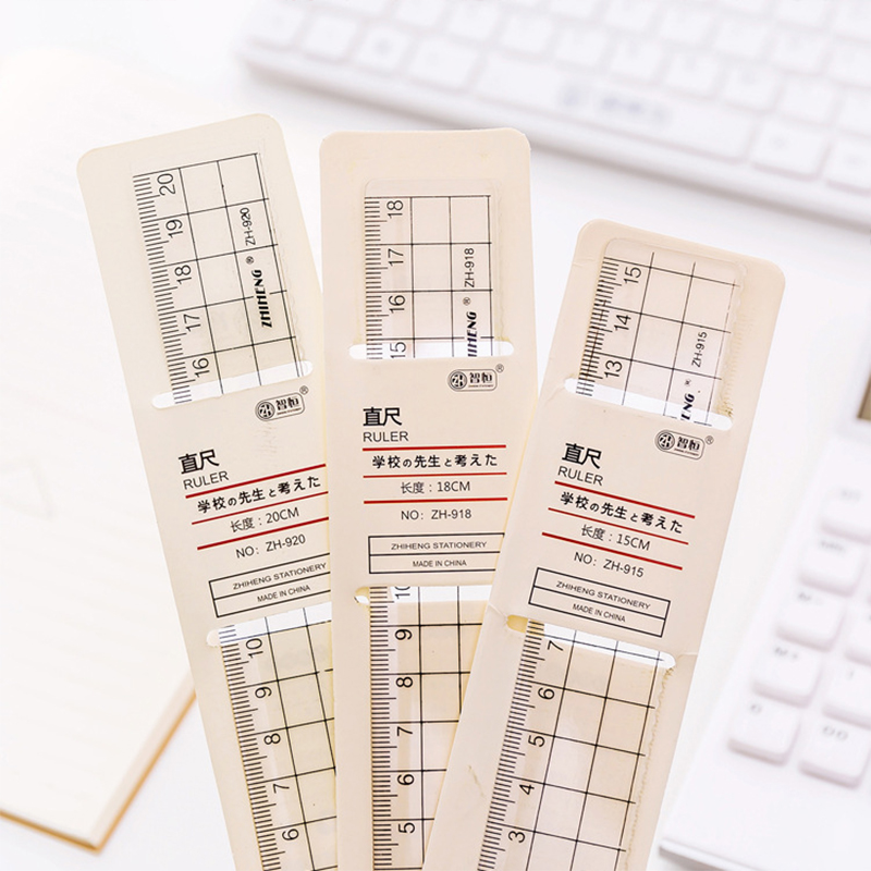 15/18/20CM Grid Ruler Muji Style Transparent Plastic Straight Rulers Protractor Stationery For Kids Gift Office School Supplies