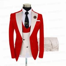 Jacket Suit Blazer Wedding-Tuxedo Custom Double-Breasted 3pieces Vest Groom Red Pan Jacquard