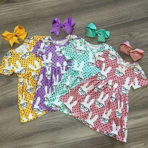 Sring/Летняя Пасхальная одежда для маленьких девочек, детское платье из молочного шелка, солнцезащитные очки с коротким рукавом и бантом