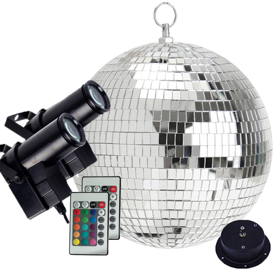 Thrisdar Dia25CM 30CM Rotating Disco Mirror Ball With 2PCS Remote Control RGB Beam Pinspot Lamp Party Disco Ball Stage Light