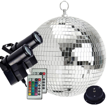 Thrisdar Dia25CM 30CM Rotating Disco Mirror Ball With 2PCS Remote Control RGB Beam Pinspot Lamp Party Stage Light