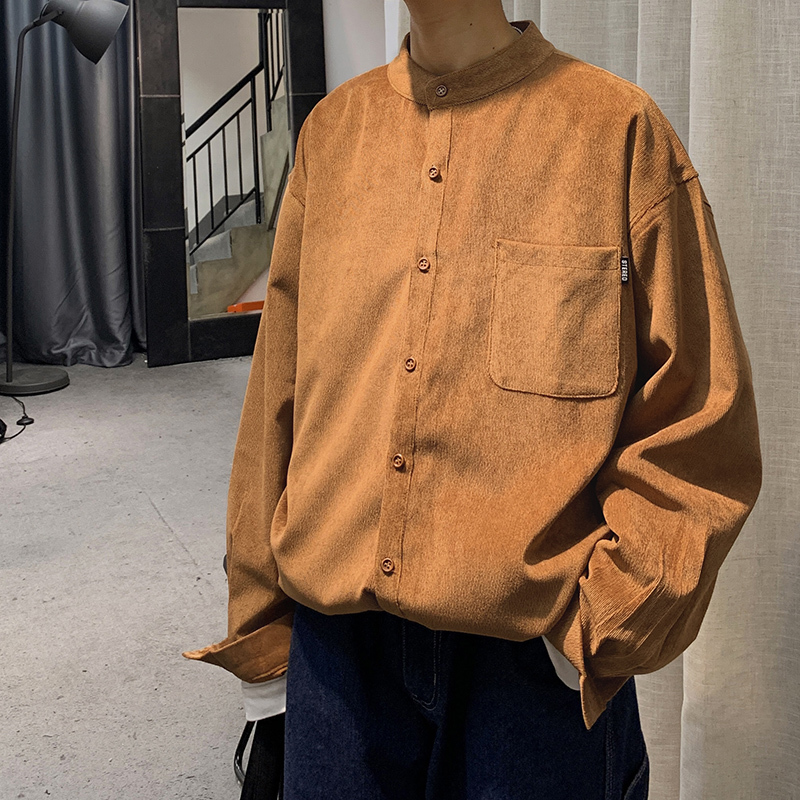 2020 Spring And Autumn New Youth Popular Solid Color Corduroy Long Sleeve Shirt Fashion Casual Single-breasted Shirt M-2XL