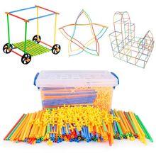 Puzzle-Toy Building-Blocks Plastic Straw-Assembled Educational 1set Colorful Children