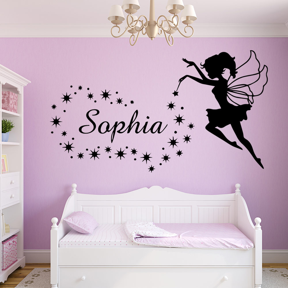 Фея Пользовательское Имя стены Стикеры Ангел настенные наклейки со звездами для девочек, Украшения в спальню детская комната обои наклейка...