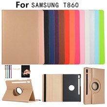 Case For Samsung Galaxy Tab S6 10.5 2019 T860 SM-T860 SM-T865 T865 360 Degree Rotating Flip Leather Tablet Stand case+film+pen(China)
