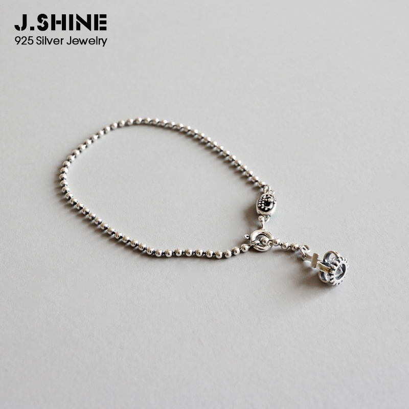 JShine Vintage 925 Sterling Silver Crown Pendant Bracelets With Zircon Charm Bracelets Bead Chain Bracelet Silver 925 Jewelry