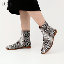 Plus Size 34-43 Genuine Leather Women Shoes Fashion Ankle Boots Zipper Snake Print Ladies Sexy Martin Flat Low Heel Short