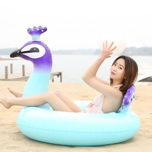Giant Inflatable Peacock Swimming Ring Adult Child Beach Party Swim Pool Float Toys Inflatable Circle Float Seat Large Life Buoy new giant pool float shell inflatable swimming float for adult kid funny aquatic toys ride on air mattress summer swim life buoy