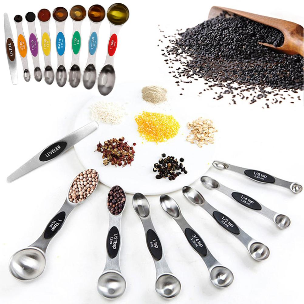 8Pcs Stainless Steel Measuring Spoon Magnetic Double Heads Measuring Spoons Measuring Cups And Spoons Scoop Kitchen Accessory