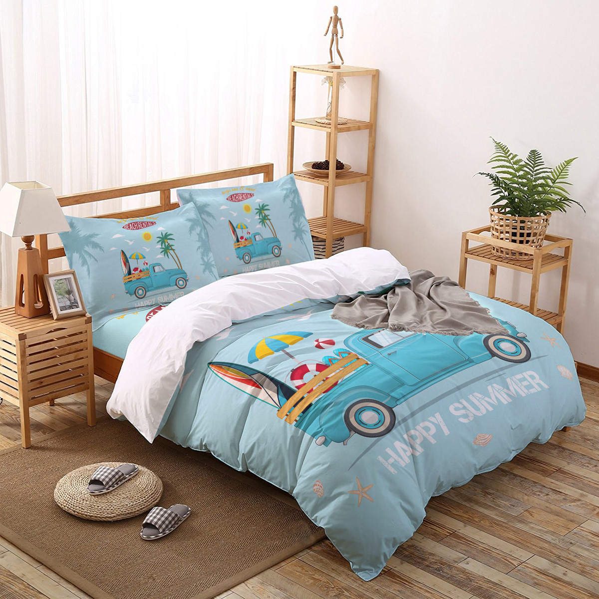 Surf Beach Truck Vacation Palm Tree Bedding Set Four Sets Of Customized Bed Sheets Bedding Sets Bedding Set Luxury Bedding Sets Aliexpress