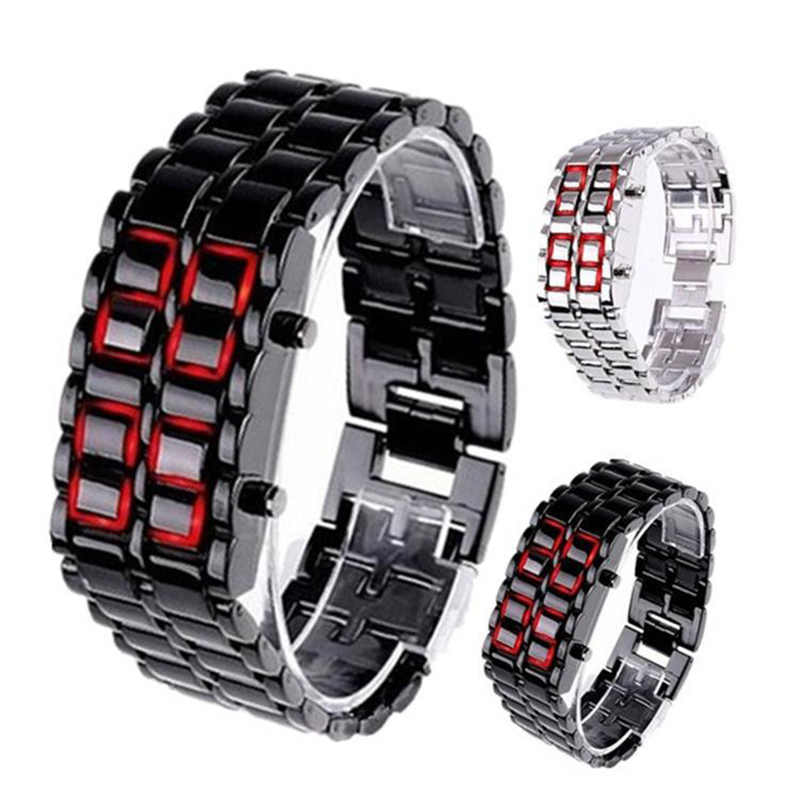 Binary LED Digital Wrist Band Matching Watch for Couple Fashion Creative Gift FOU99