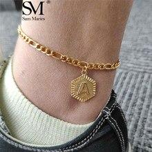 Оригинальный Женский браслет на щиколотке из нержавеющей стали с буквенным принтом, Золотой мужской браслет на щиколотке, A-Z, алфавит, рожде...