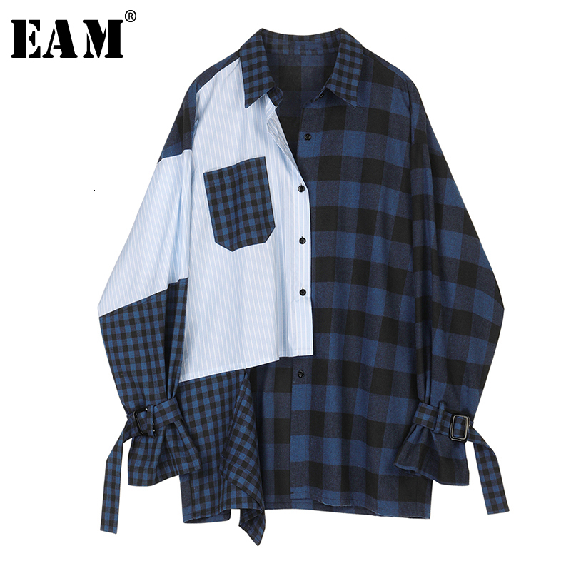 [EAM] Women Blue Striped Plaid Split Big Size Blouse New Lapel Long Sleeve Loose Fit Shirt Fashion Tide Spring Autumn 2019 1D356