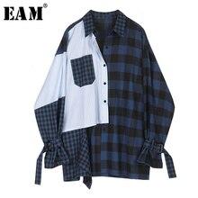 [EAM] Frauen Blau Striped Plaid Split Große Größe Bluse Neue Revers Lange Hülse Lose Fit Shirt Mode Flut frühling Herbst 2020 1D356