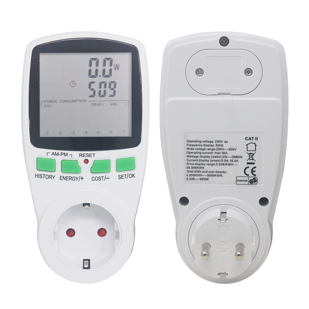 EU Socket Analyzer AC Power Meters Voltmeter Ammeter 230V 50Hz Digital Wattmeter Energy Meter Watt Cost Monitor