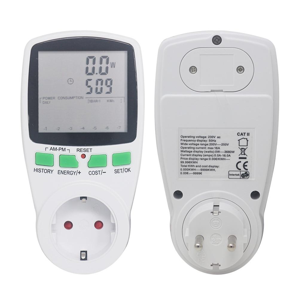 EU Socket Analyzer AC Power Meters Voltmeter Ammeter 230V 50Hz Digital Wattmeter Energy Meter Watt Cost Monitor