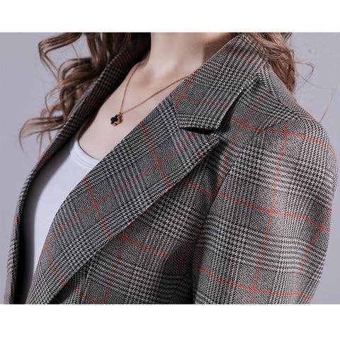 2019 Russia Plaid Women Blazer Pockets Jackets Female Retro Suits Coat Feminino Outerwear Multan