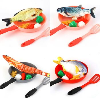Electric Wagging Fish Play House Set Interactive Pets Chew Bite Fish Flopping Cat Toy Fish Shape Doll Pets Pillow teeboo usa kidoo pets cat minx gray