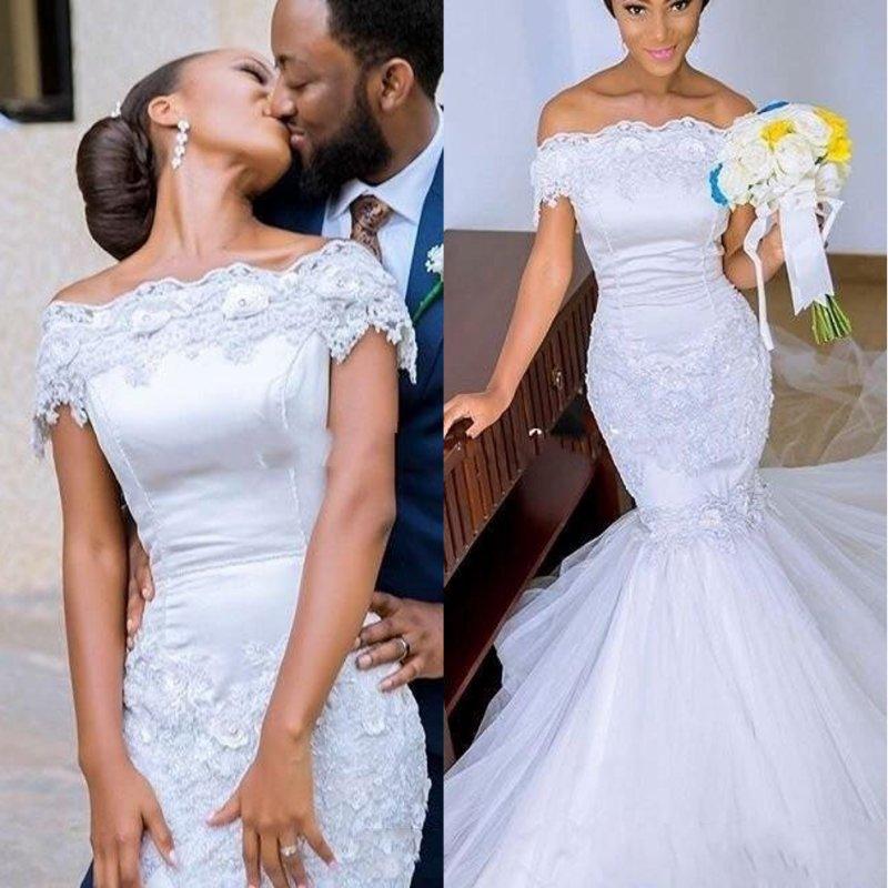 Vintage Vestido De Noiva Mermaid Wedding Dress 2020 African Black Girl Women Wedding Gowns Off The Shoulder Lace Bride Dresses