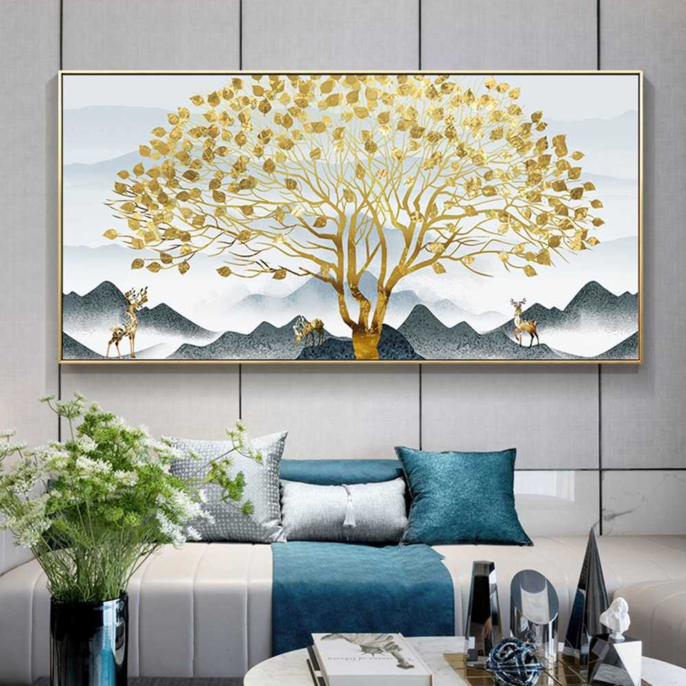 Modern Art Abstract Tree Deer Canvas Wall Pictures Fashion Wall Picture For Living Room Kids Room Home Decor cuadros