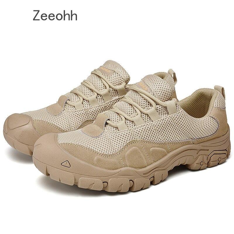 Zeeohh 2019 nouveau hommes grande taille en plein air en acier embout militaire travail et sécurité bottes chaussures hommes marron armée anti-crevaison bottes