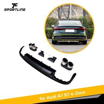 Rear Bumper Diffuser Lip for Audi A7 Sline 4 Door 2019 2020 Car Rear Bumper Diffuser Lip Spoiler with Exhaust Tips PP Non S7