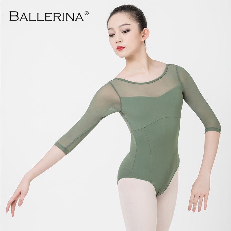 Ballerina Ballet Leotard Women Mesh Costume Professional Long Sleeve Training Gymnastics Adulto Leotard 5910