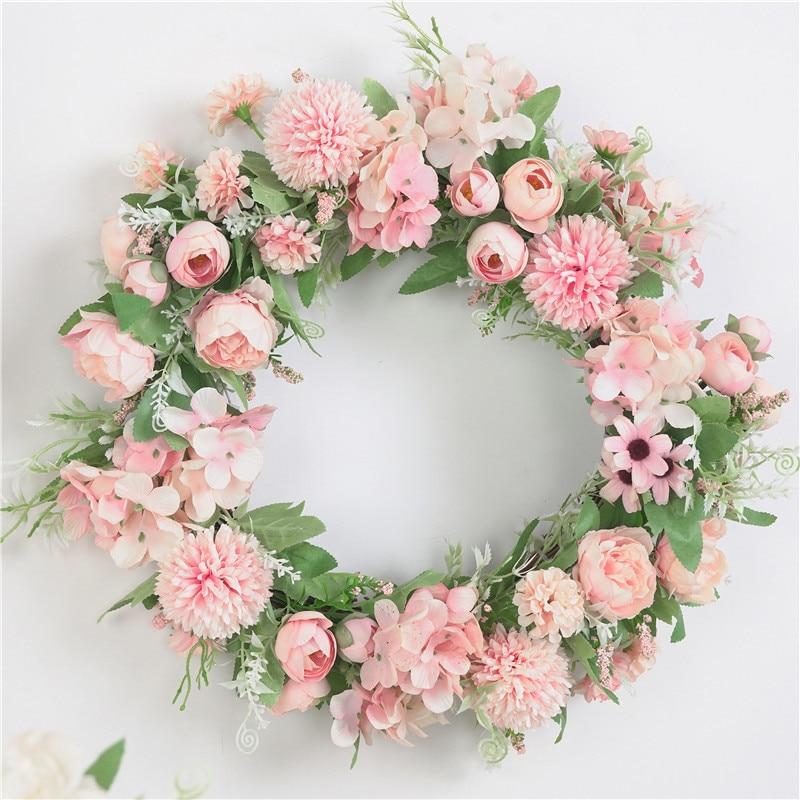 Artificial Wreath Door Decoration Flower Arrangement Wreaths Decoration Wedding Hanging Spring Wreath Ring Round Home Decor