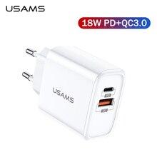 Chargeur rapide USAMS QC3.0 PD3.0 USB chargeur pour iPhone X ue prise américaine chargeur rapide de téléphone portable pour Samsung simple Charge murale USB