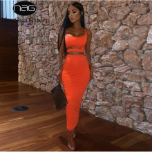 NewAsia Double Layers Summer Two Piece Set Women Hollow Out Crop Top And Long Skirts Matching Sets Party Club 2 Outfits