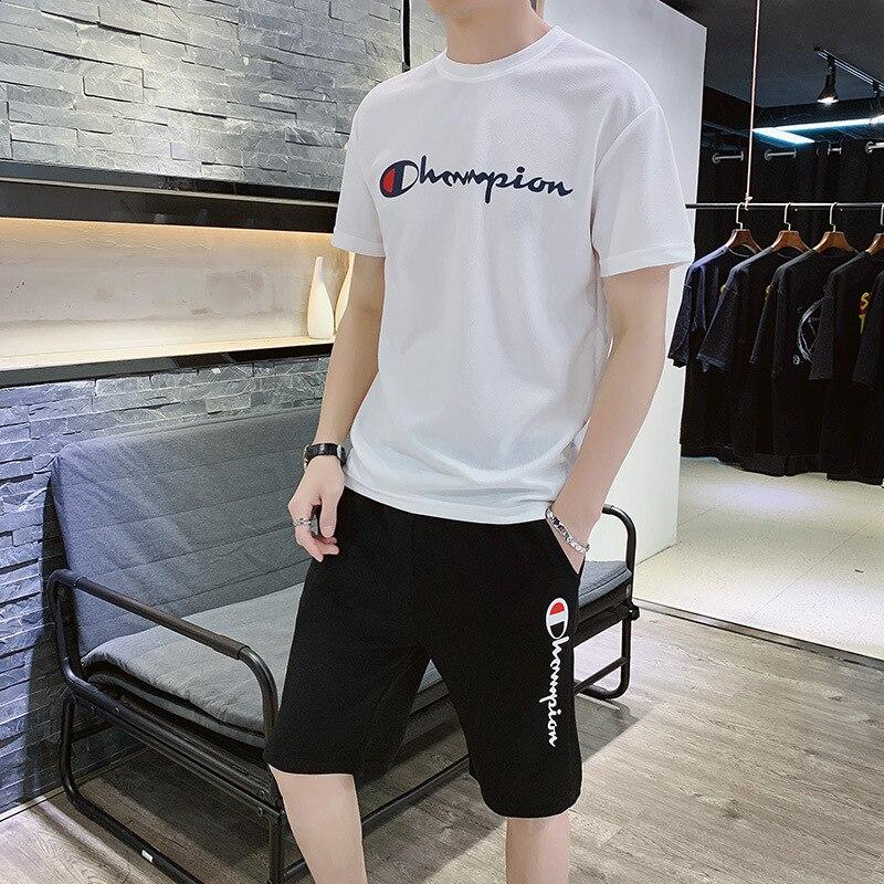 2019 Summer Short Sleeve T-shirt Suit Men's Large Size Loose-Fit Sports Set Men'S Wear Leisure Suit Two-Piece Set 5 Pants