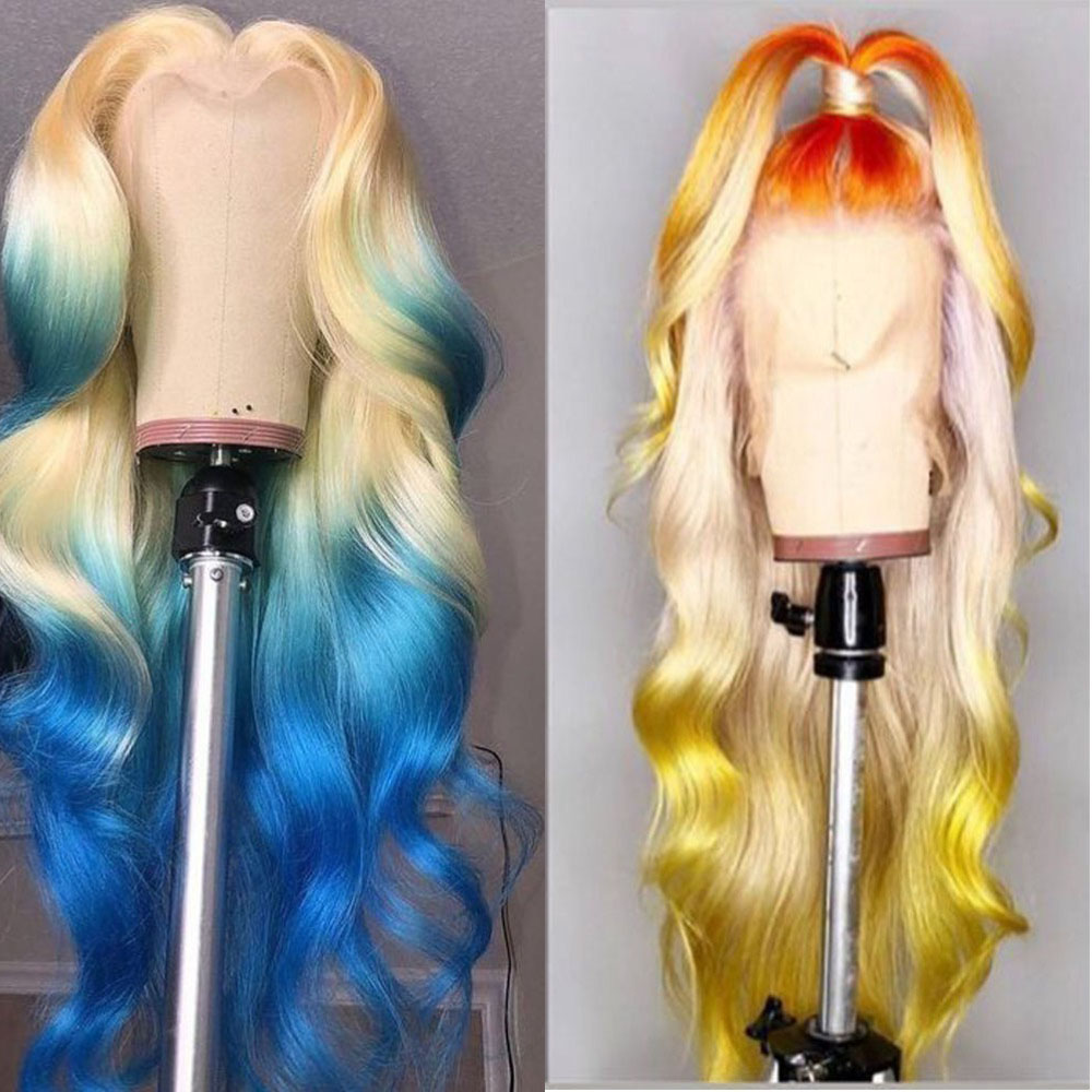 Middle Part Body Wave 13*1 Lace Front Wigs 28 inch   613 Blonde Deep Part Wig Pre Plucked With Baby Hair 2