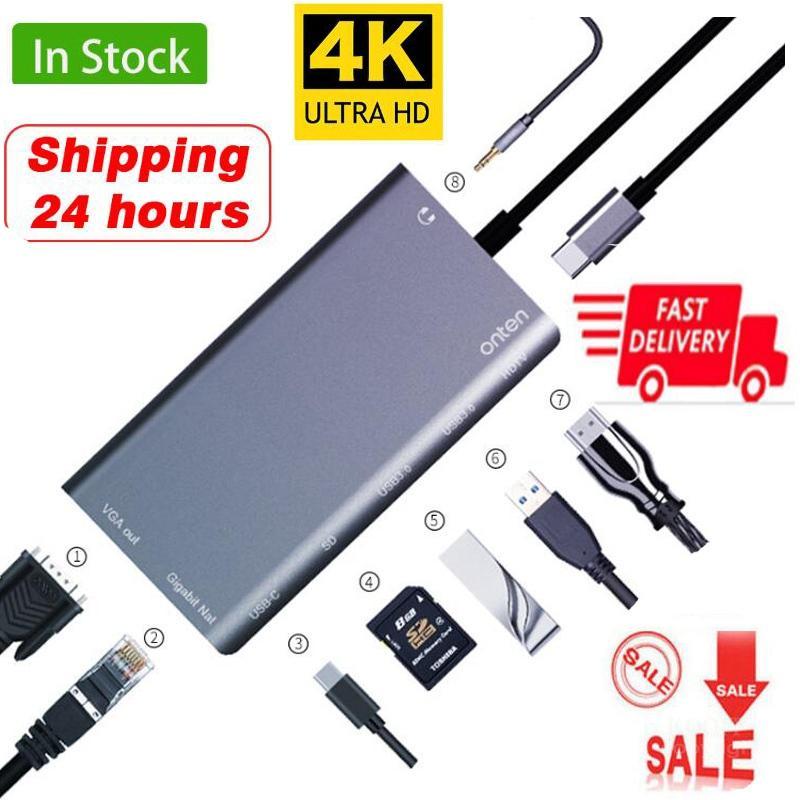 Leitor de Cartão Jack tipo c Doca para Macbook para Samsung 8 em 1 c para Rj45 Hdmi Vga 2 3.0 sd 3.5mm Hub Adaptador Huawei Usb Lan 4 k