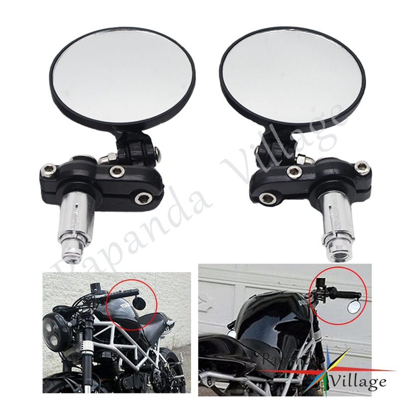 Black Aluminum <font><b>3</b></font> inch Motorcycle Round Folding Mirrors <font><b>7</b></font>/8'' 22mm Handle Bar End/Under Rearview Side Mirror Universal Motorbike image