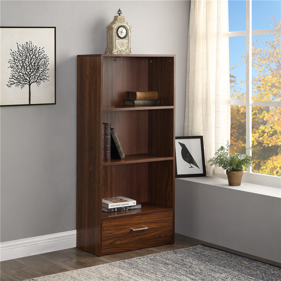 Wood Standard Bookcase with 3 Shelf Open storage compartments and 1 Drawer Office Cabinet Large SIze Bookshelf